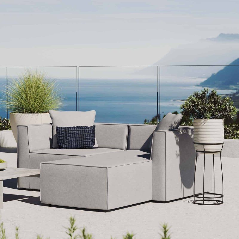 Saybrook Outdoor Patio Upholstered Loveseat and Ottoman Set in Gray