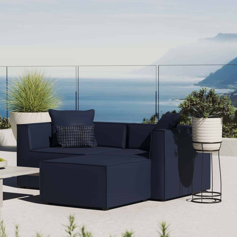 Saybrook Outdoor Patio Upholstered Loveseat and Ottoman Set in Navy