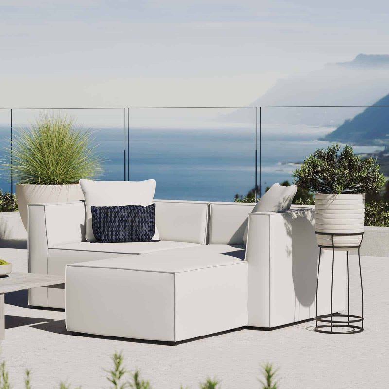 Saybrook Outdoor Patio Upholstered Loveseat and Ottoman Set in White