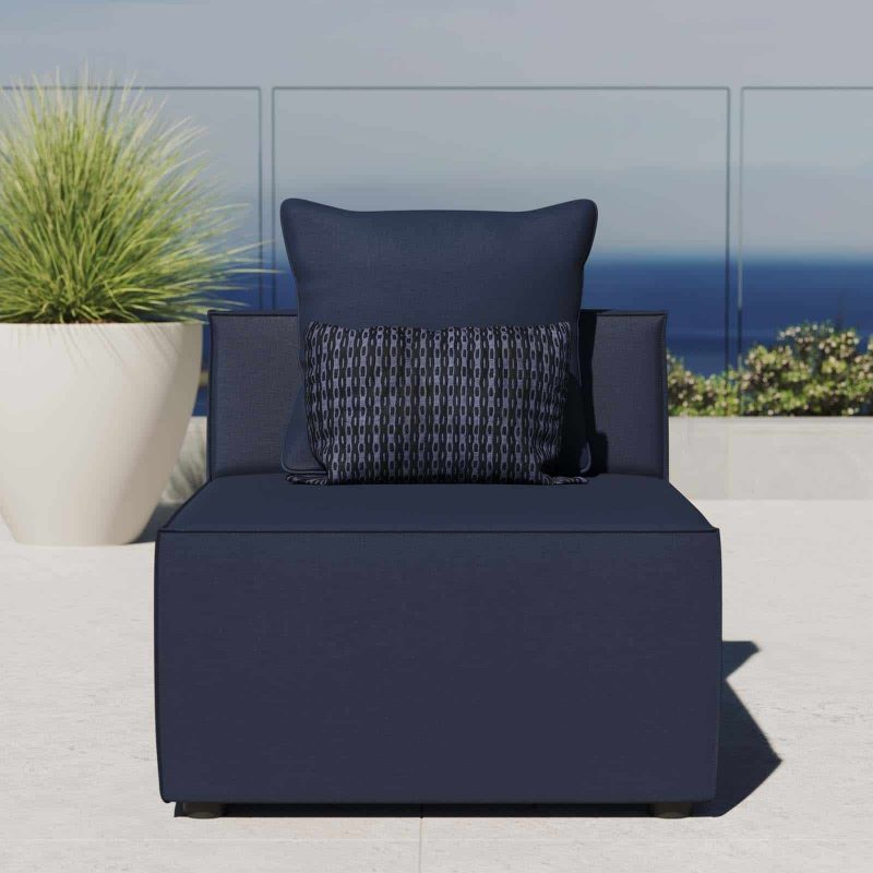 Saybrook Outdoor Patio Upholstered Sectional Sofa Armless Chair in Navy Blue