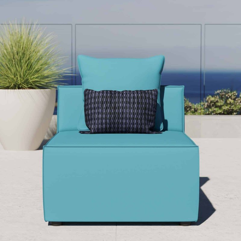 Saybrook Outdoor Patio Upholstered Sectional Sofa Armless Chair in Turquoise
