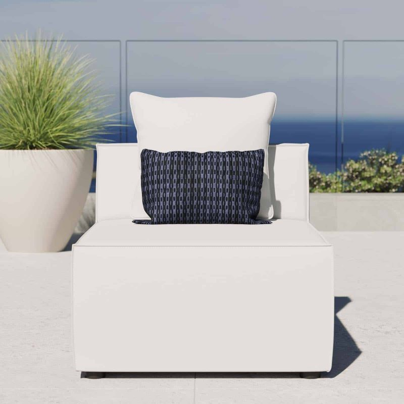 Saybrook Outdoor Patio Upholstered Sectional Sofa Armless Chair in White