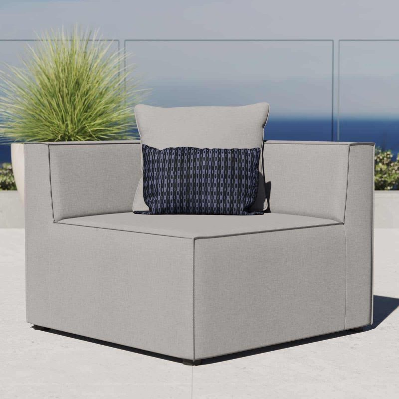 Saybrook Outdoor Patio Upholstered Sectional Sofa Corner Chair in Gray