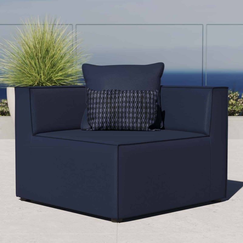 Saybrook Outdoor Patio Upholstered Sectional Sofa Corner Chair in Navy