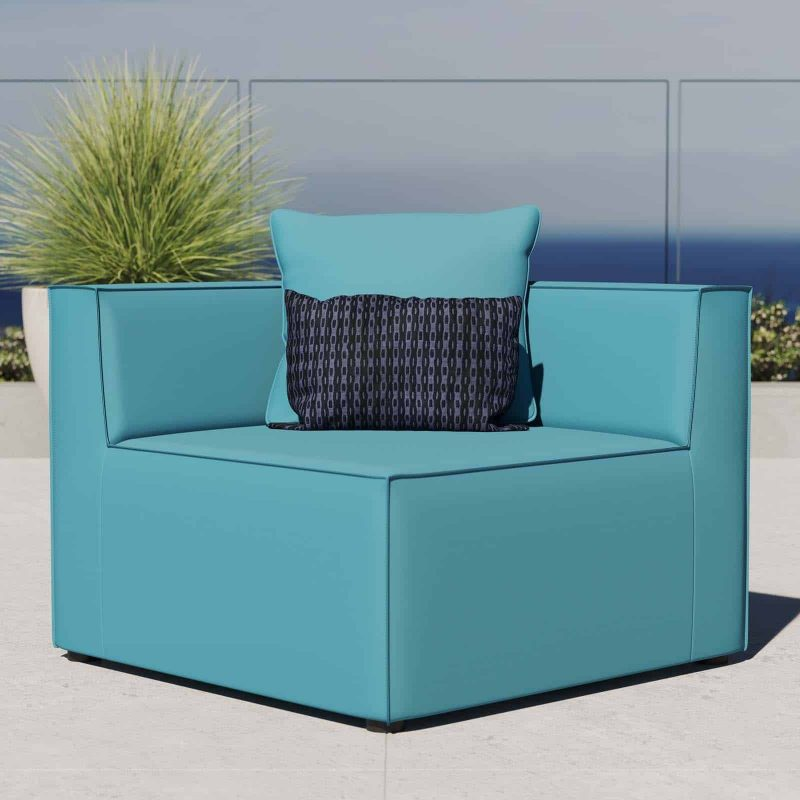Saybrook Outdoor Patio Upholstered Sectional Sofa Corner Chair in Turquoise