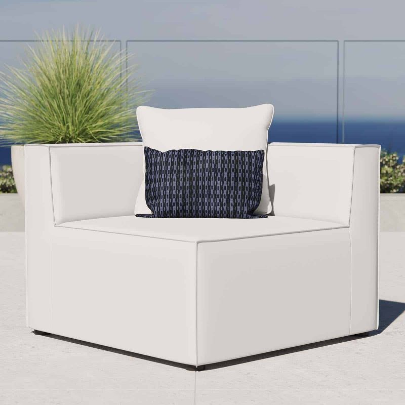 Saybrook Outdoor Patio Upholstered Sectional Sofa Corner Chair in White