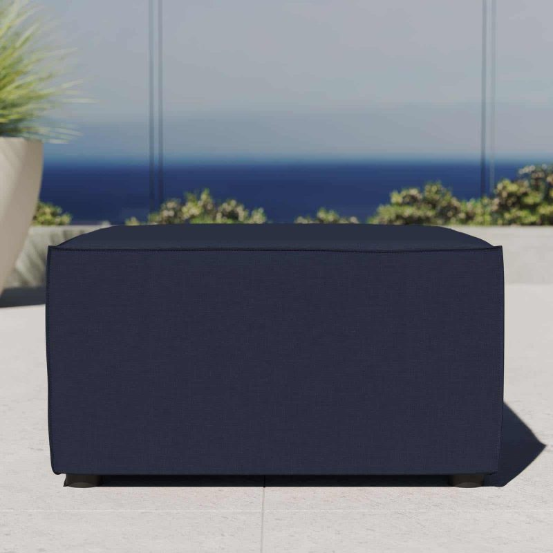 Saybrook Outdoor Patio Upholstered Sectional Sofa Ottoman in Navy