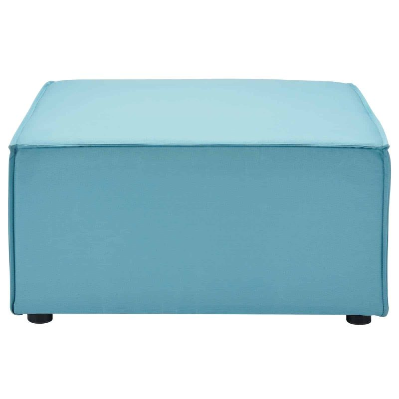 Saybrook Outdoor Patio Upholstered Sectional Sofa Ottoman in Turquoise