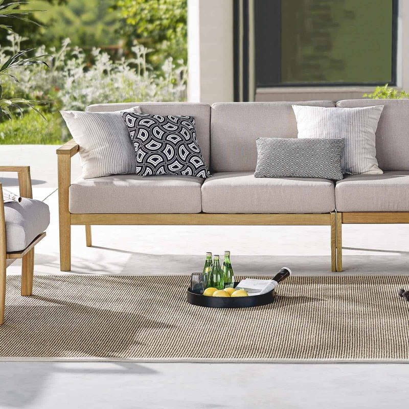 Sedona Outdoor Patio Eucalyptus Wood Left-Facing Loveseat in Natural Taupe