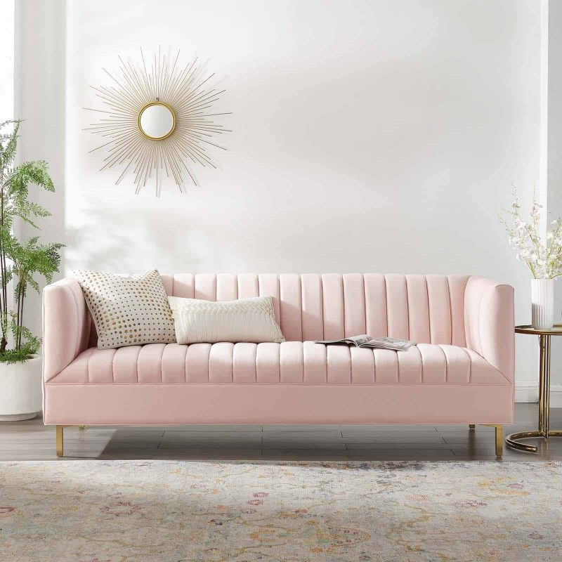 Shift Channel Tufted Performance Velvet Sofa in Pink
