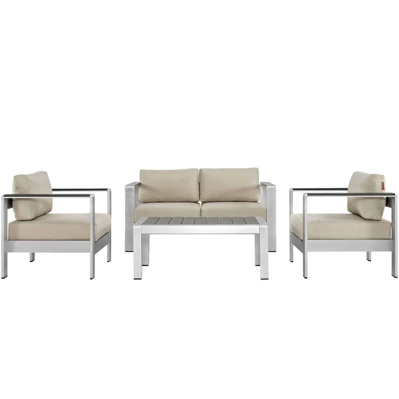 Shore 4 Piece Outdoor Patio Aluminum Sectional Sofa Set in Silver Beige