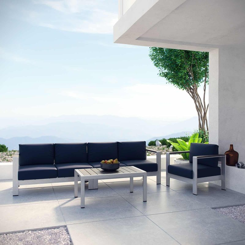 Shore 4 Piece Outdoor Patio Aluminum Sectional Sofa Set in Silver Navy