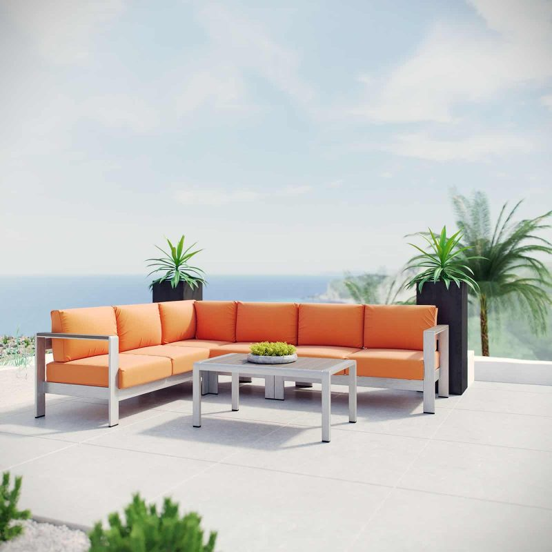 Shore 5 Piece Outdoor Patio Aluminum Sectional Sofa Set in Silver Orange