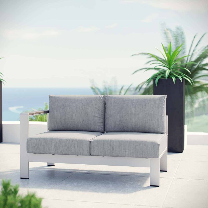 Shore Left-Arm Corner Sectional Outdoor Patio Aluminum Loveseat in Silver Gray