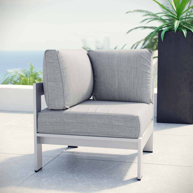 Shore Outdoor Patio Aluminum Corner Sofa in Silver Gray