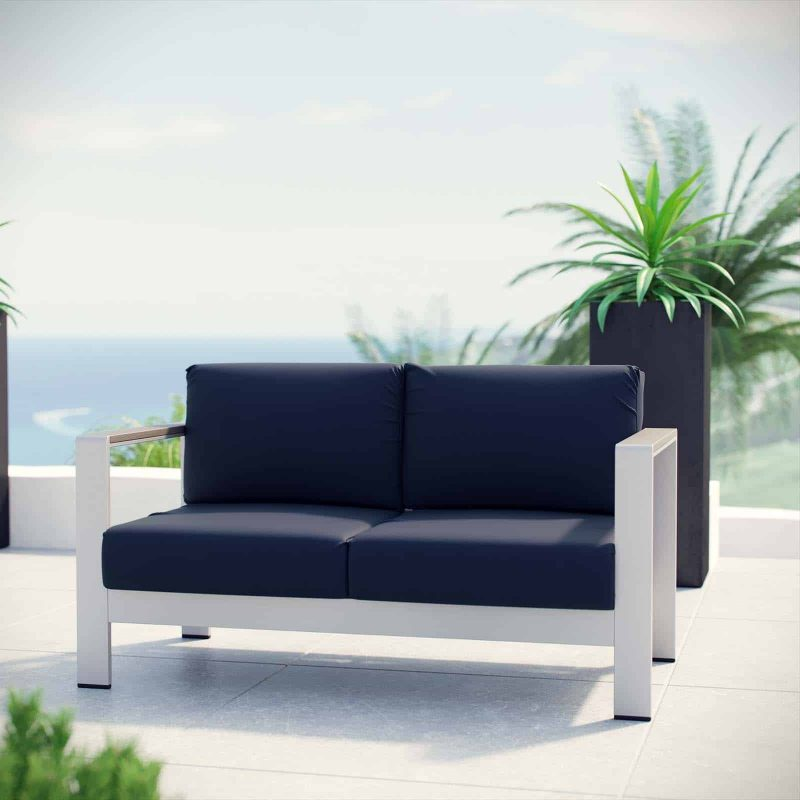 Shore Outdoor Patio Aluminum Loveseat in Silver Navy