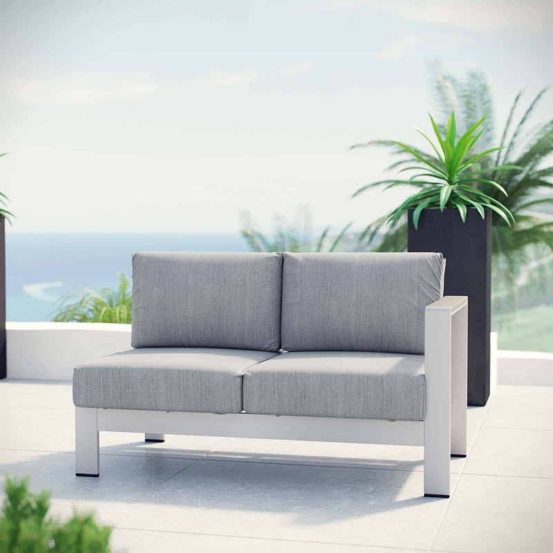Shore Right-Arm Corner Sectional Outdoor Patio Aluminum Loveseat in Silver Gray