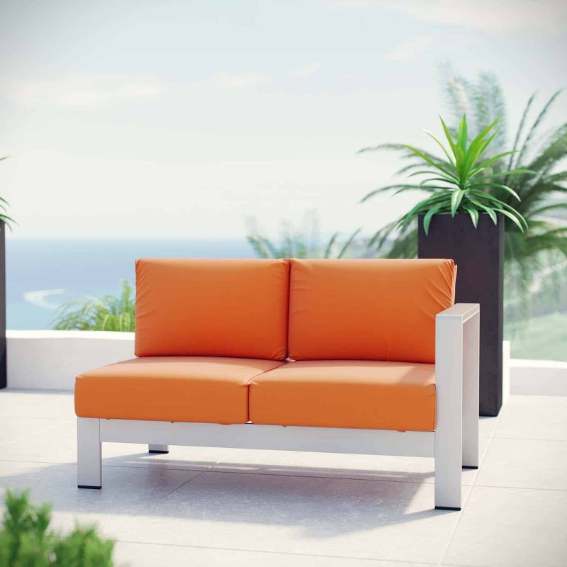 Shore Right-Arm Corner Sectional Outdoor Patio Aluminum Loveseat in Silver Orange