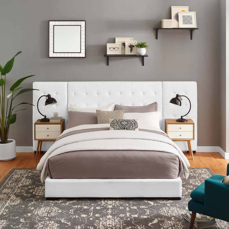 Sierra Queen Upholstered Fabric Platform Bed in White