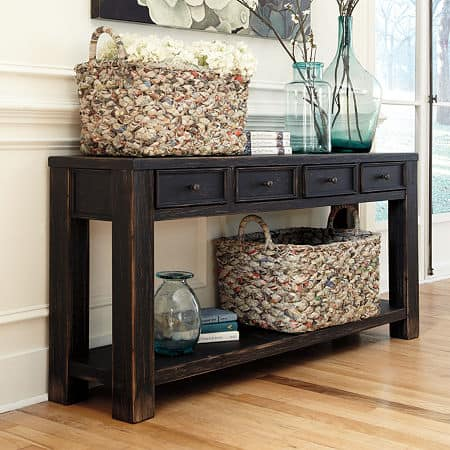 Signature Design by Ashley Gavelston Sofa Table, One Size , Black