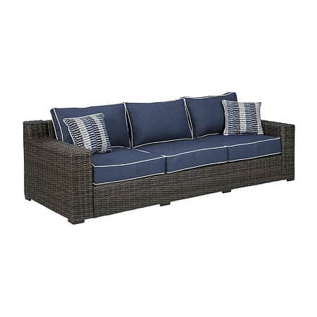 Signature Design by Ashley Grasson Lane Patio Sofa, One Size , Blue