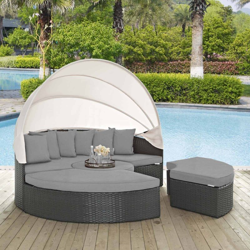 Sojourn Outdoor Patio Sunbrella® Daybed in Canvas Gray
