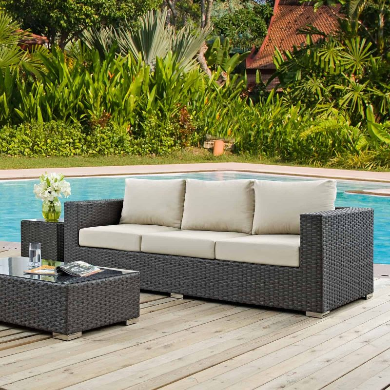 Sojourn Outdoor Patio Sunbrella® Sofa in Canvas Antique Beige