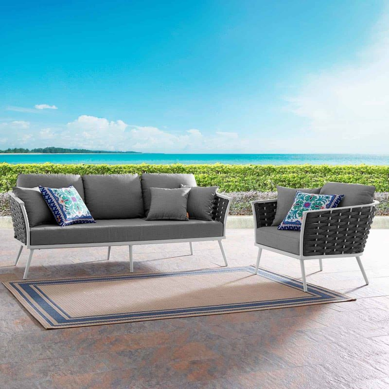 Stance 2 Piece Outdoor Patio Aluminum Sectional Sofa Set in White Gray