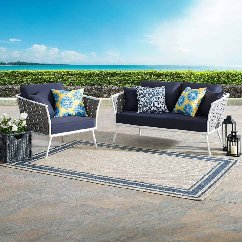 Stance 2 Piece Outdoor Patio Aluminum Sectional Sofa Set in White Navy