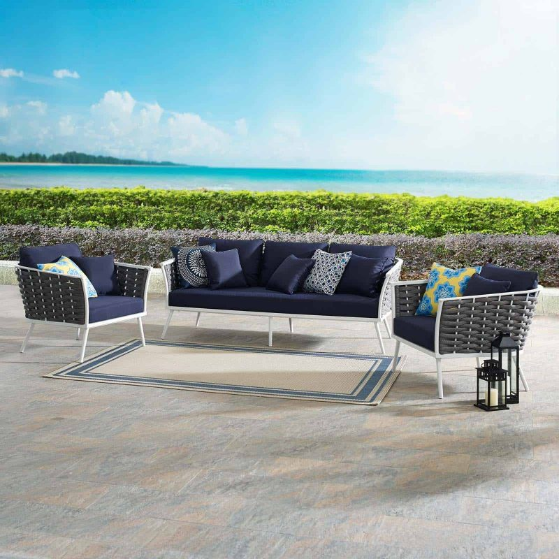 Stance 3 Piece Outdoor Patio Aluminum Sectional Sofa Set in White Navy