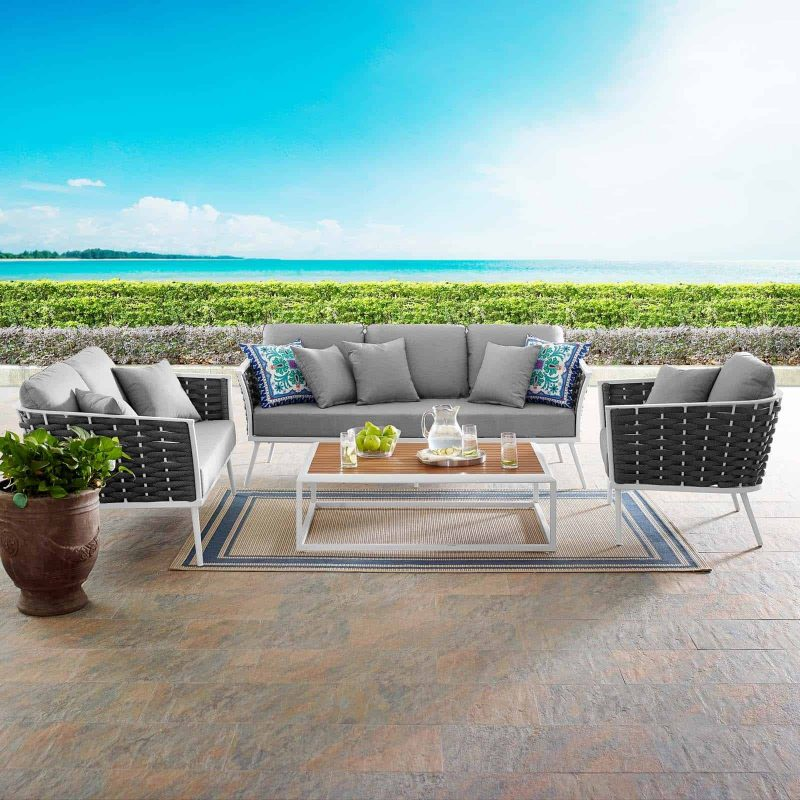 Stance 4 Piece Outdoor Patio Aluminum Sectional Sofa Set in White Gray