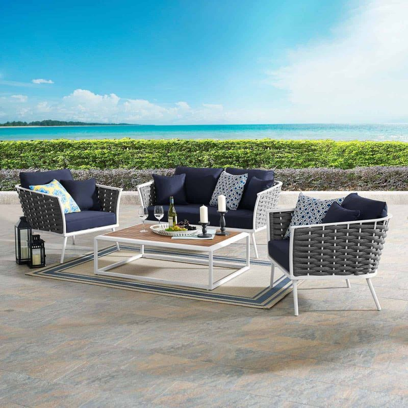 Stance 4 Piece Outdoor Patio Aluminum Sectional Sofa Set in White Navy