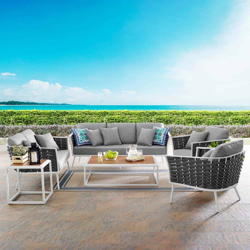 Stance 5 Piece Outdoor Patio Aluminum Sectional Sofa Set in White Gray