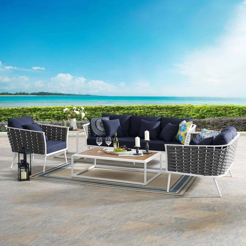 Stance 6 Piece Outdoor Patio Aluminum Sectional Sofa Set in White Navy