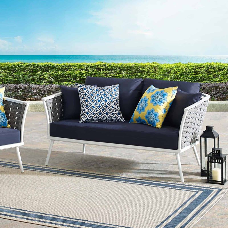 Stance Outdoor Patio Aluminum Loveseat in White Navy