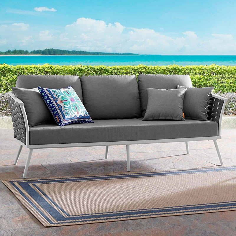 Stance Outdoor Patio Aluminum Sofa in White Gray