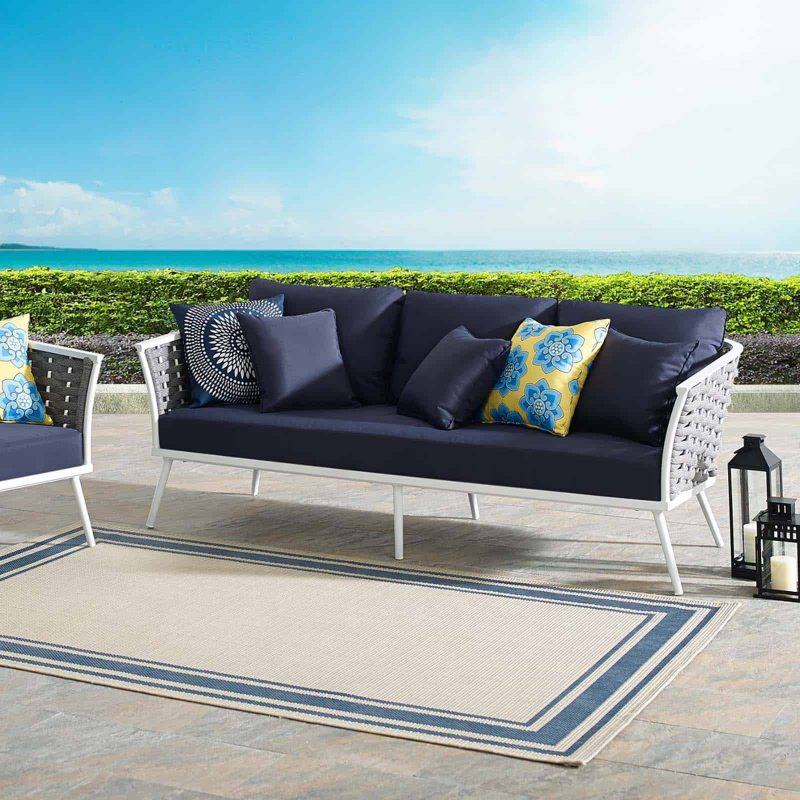 Stance Outdoor Patio Aluminum Sofa in White navy