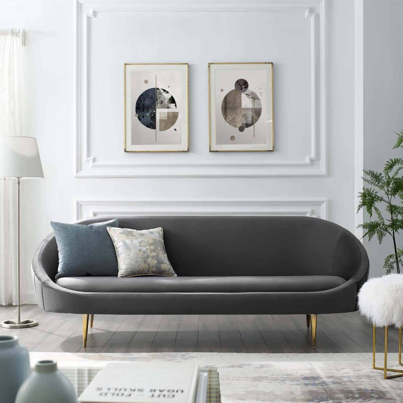 Sublime Vertical Curve Back Performance Velvet Sofa in Gray