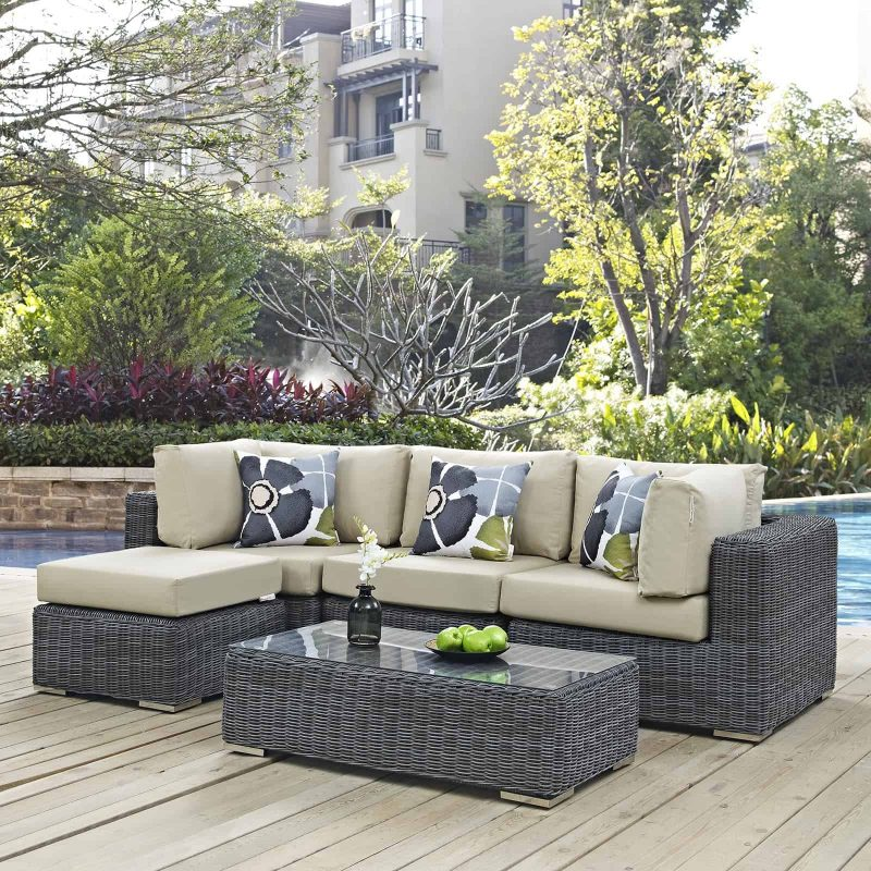 Summon 5 Piece Outdoor Patio Sunbrella® Sectional Set in Canvas Antique Beige