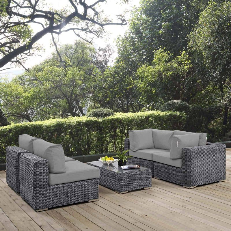Summon 5 Piece Outdoor Patio Sunbrella® Sectional Set in Canvas Gray