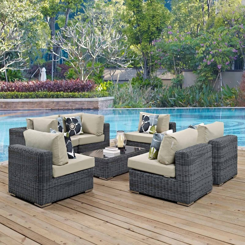 Summon 7 Piece Outdoor Patio Sunbrella® Sectional Set in Canvas Antique Beige