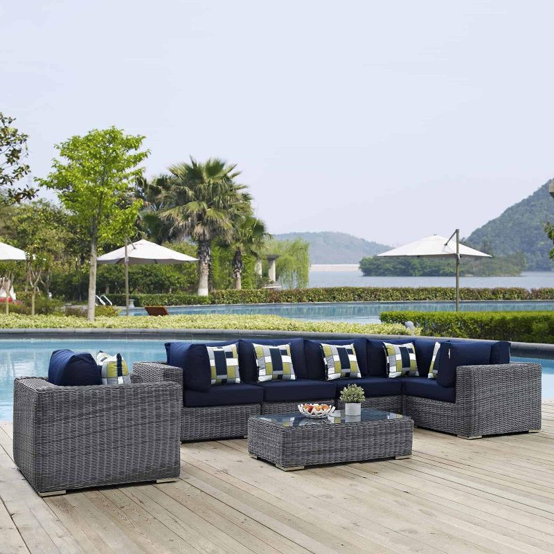 Summon 7 Piece Outdoor Patio Sunbrella® Sectional Set in Canvas Navy