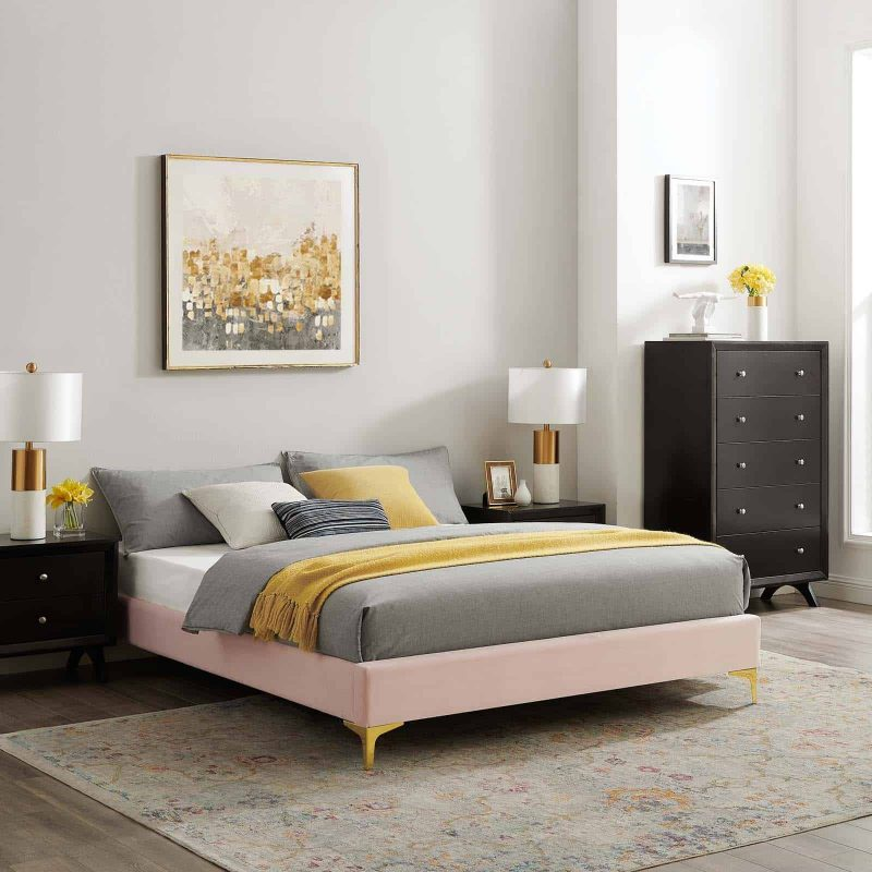 Sutton Full Performance Velvet Bed Frame in Pink