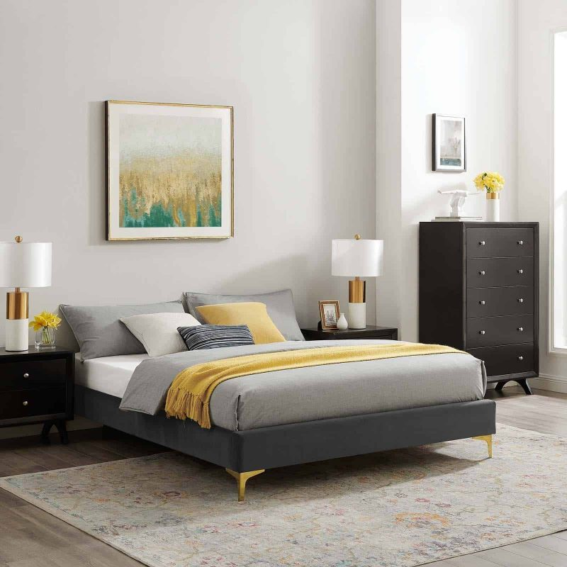 Sutton Queen Performance Velvet Bed Frame in Charcoal