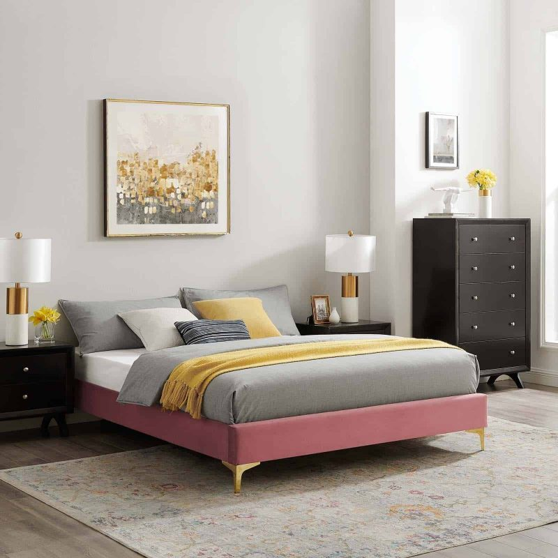 Sutton Queen Performance Velvet Bed Frame in Dusty Rose