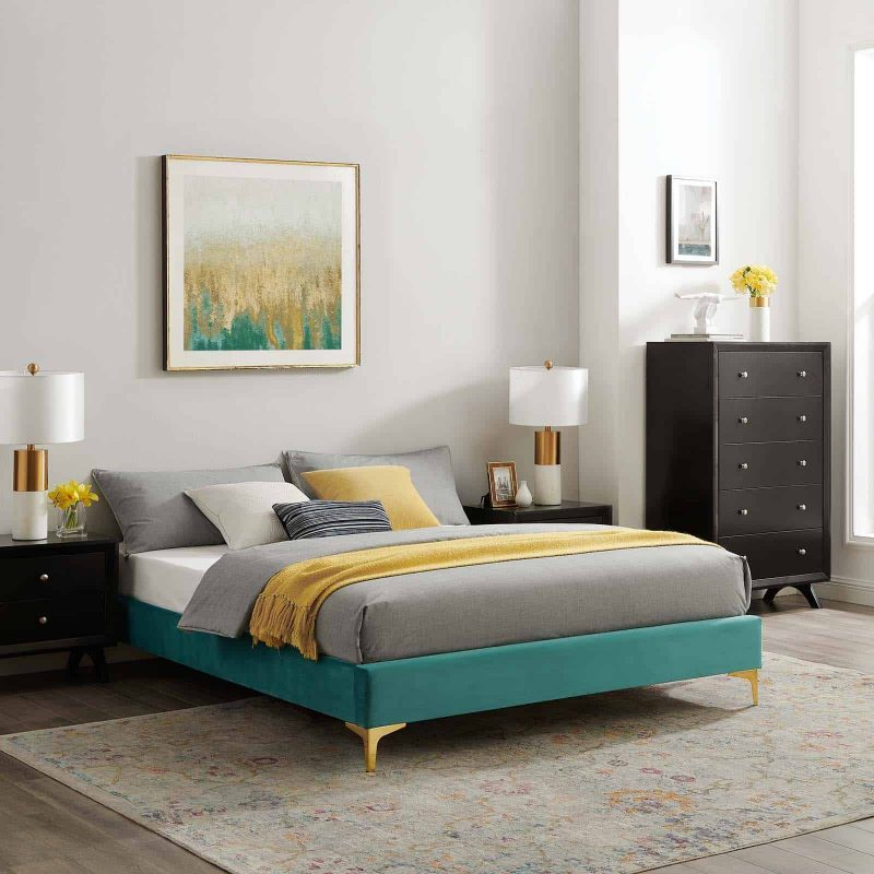 Sutton Queen Performance Velvet Bed Frame in Teal