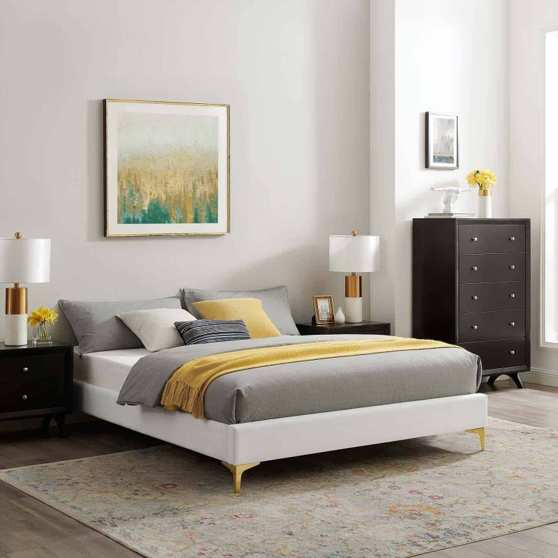 Sutton Queen Performance Velvet Bed Frame in White