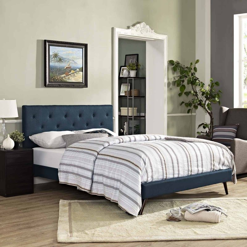 Tarah Queen Fabric Platform Bed with Round Splayed Legs in Azure