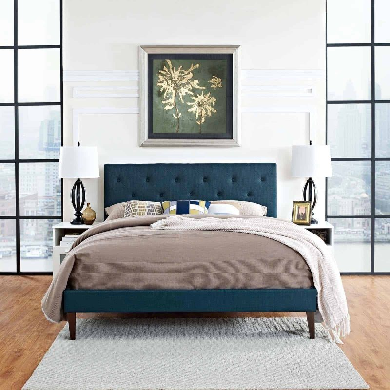 Tarah Queen Fabric Platform Bed with Squared Tapered Legs in Azure