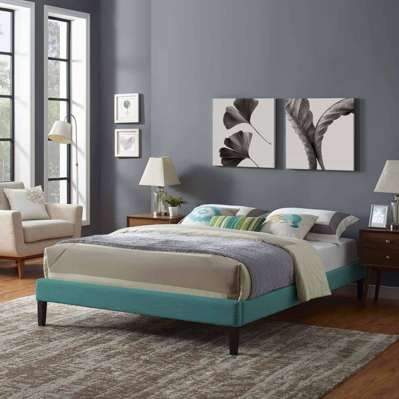 Tessie King Fabric Bed Frame with Squared Tapered Legs in Teal